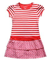 Super Young - Cap Sleeves Striped Red Dress