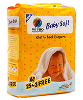 Wipro Baby Soft Cloth Feel Diapers Medium - 28 Pieces
