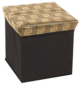 Fab N Funky - Storage Cum Stool  Black &amp; Golden