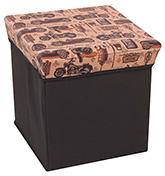 Fab N Funky - Peach Vehicles Printed Storage Cum Stool 