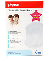 Pigeon - Disposable Breast Pads 6 Pieces, Super Absorbent, Perfect Fit, Soft & Dry, ...