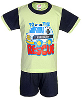 Fun - Rescue Print Half Sleeves T Shirt With Shorts