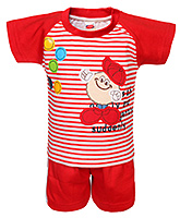 Fun - Stripes Print T Shirt With Shorts Set