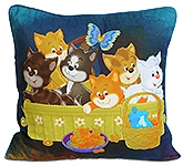 Digital Kittens Print Kids Cushion Cover 12 X 12 Inches, A Cute Digital Kittens Print Cushion...
