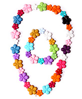 Hopscotch - Flower Shaped Beads Necklace And Bracelet