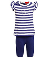 Little Pixies - Cap Sleeves Striped Top And Capri Set
