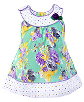 Infancy - Sleeveless Floral And Dots Print Frock