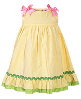 Lemon Yellow Dress With Satin Bows Size 3, 3 - 4 Years, Sweetly adoreable sleeveless co...