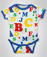Earth Conscious - Half Sleeves Alphabet Print Romper