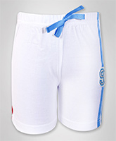 SAPS - White Shorts With 91 Applique