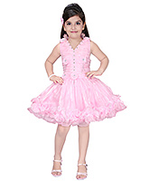 SAPS - Rauched Pink Halter Dress With Rosette