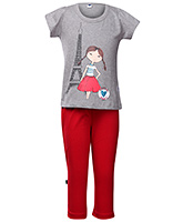 Teddy - Short Sleeves Girl Print Night Suit