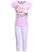 Teddy - Short Sleeves Printed Girls Night Suit