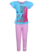 Barbie - Barbie Face Print Girls Night Suit