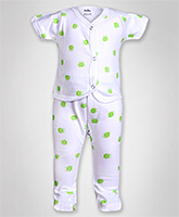 Baby Hug - Frog Print Front Open Night Suit