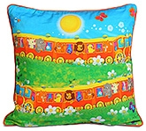 Swayam Double Train Print Kids Cushion Cover - 12 X 12 Inches