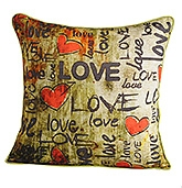 Love Print Cushion Cover 12 X12  Inches, 1 Piece, Mercerised Cotton, Colorful...
