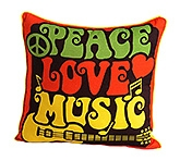 Peace Love Music Print Cushion Cover 16 x16  Inches, 1 Piece, Mercerised Cotton, Colorful...