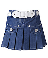 SAPS - Denim Pleated Skirt With Belt