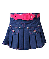 SAPS - Pleated Denim Skirt With Pink Belt