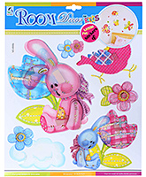 Fab N Funky Rabbit And Flowers Sticker - 30.5 X 30.5 Cm