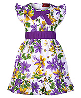 Little Pixies - Cap Sleeves Frock With Bow