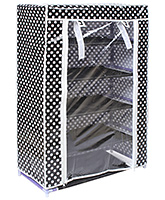 Fab N Funky - White Dotted Print 5 Layer Shoe Rack