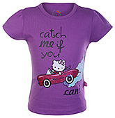 Hello Kitty -  Half Sleeves Car Print Top