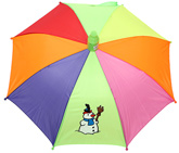 Fab N Funky - Snow Man Print Colourful Umbrella With Whistle