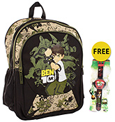 School Bag with Wrist Watch 6 years +, 12 x 29 x 40 cm, Free Ben 10 Wrist Watch,...