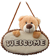 Teddy Bear Door Hanger Light Brown 20 Cms, Attractive door hanger with teddy face soft ...