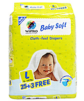Wipro Baby Soft Cloth Feel Diapers Large - 28 Pieces