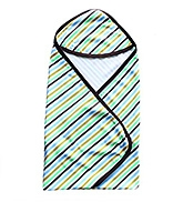 Buy Wow Mom - Interlock Baby Wrap With Hood Strips Print Green