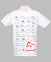 White T-Shirt - Car Print
