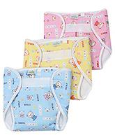 Babyhug - Set Of 3 Multi Color Bear Print Baby Nappies