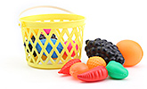 Fruits With Basket Multi Colour 3 Years+, Bright And Colorful Fruit Set With Basket ...