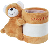 Fab N Funky - Brown Bear Pattern Pencil Stand With Happy Everyday Printed - 8.5x15x13.5 Cm