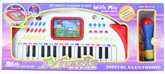 White Digital Electronic Music Piano With Blue Microphone