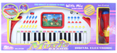 White Digital Electronic Music Piano With Red Microphone 3 Years+, The 31 Keys Digital Electronic Keyboard Is...