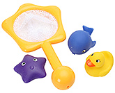 Bathtime Animals With Yellow Net 3 Months+, Starfish, fish and duck shape bathtime se...