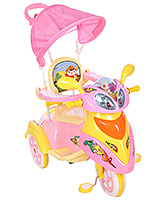 Fab N Funky Tricycle With Push Handle And Canopy Bike Design - Pink