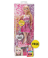 Fashionistas Doll Dressed In Pink 3 Years+, 30 cm, FREE Barbie play with color nail po...