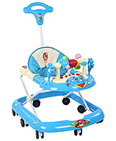 Fab N Funky - Baby Walker With Push Handle And Rattle Play Tray Blue