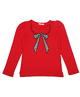 Via Italia Red Full Sleeves Top - Patch Embroidery