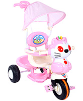 Fab N Funky Tricycle With Parents Steering Handle And Canopy - Pink