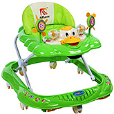 Fab N Funky - Duck Shape Baby Walker With Rattle Play Tray Green
