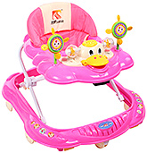 Fab N Funky - Duck Shape Baby Walker With Rattle Play Tray Pink
