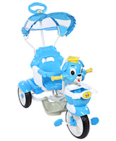 Fab N Funky Dog Shape Tricycle With Push Handle And Canopy Blue