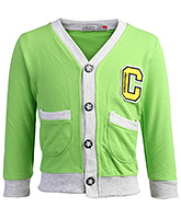Buy Baby Hug Full Sleeves Jacket With Front Pockets - Light Green
