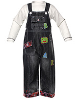 Denim Dungaree with Thermal Tee - Bear